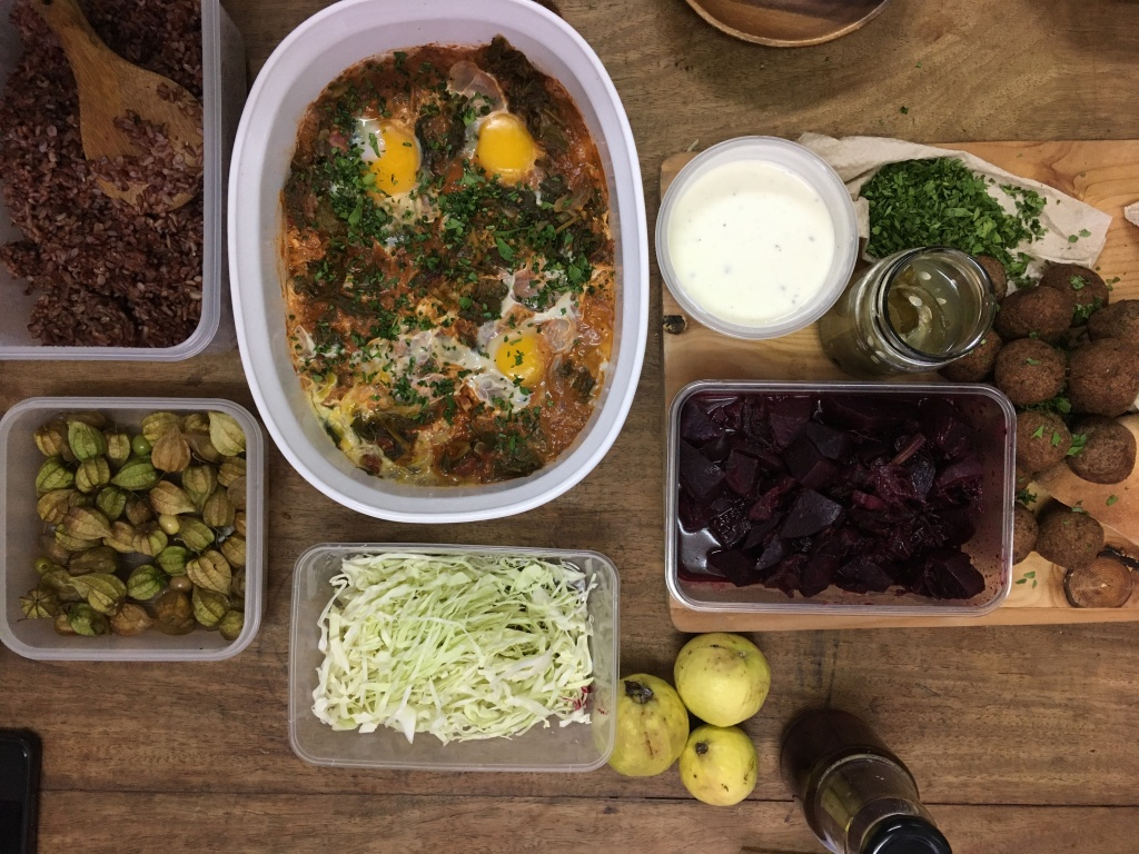 Spinach Shakshuka, Beet Stew, Red Bean Falafel